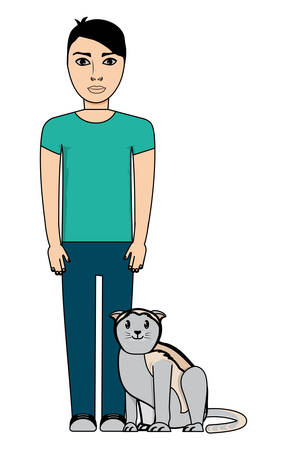 cartoon man standing with cute cat over white background, vector illustration