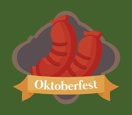 Oktoberfest festival emblem with sausages icon over green background, colorful design. vector illustration