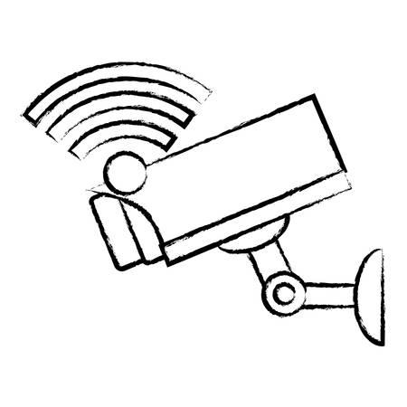 wifi symbol and surveillance camera icon over white background, vector illustration