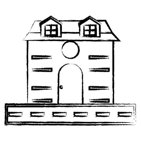 road and house icon over white background, vector illustration  イラスト・ベクター素材