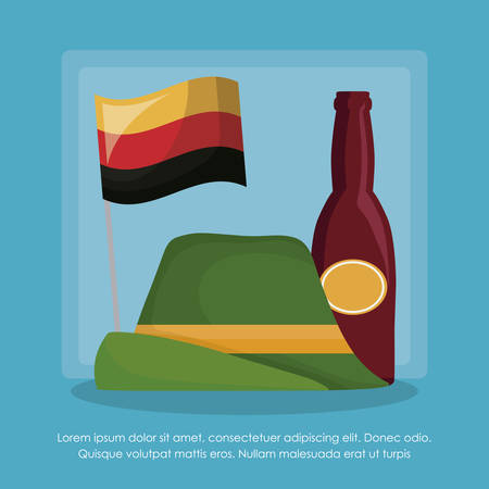 oktoberfest infographic template with alpine hat and beer bottle icon over blue background, colorful design. vector illustration Illustration