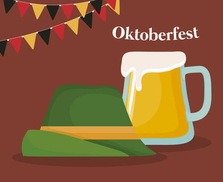 Oktoberfest festival design with alpine hat and beer mug over brown background, colorful design. vector illustration