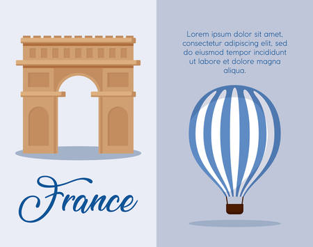 infographic of france culture and food over blue background, colorful design. vector illustration 矢量图像