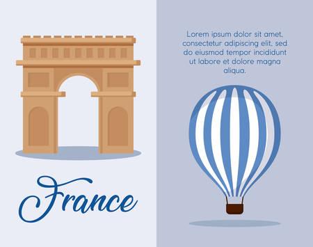 infographie de la culture française et de la nourriture sur fond bleu, design coloré. illustration vectorielle