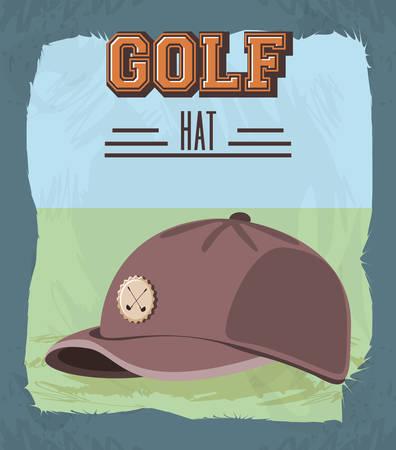 golf club label with hat vector illustration design