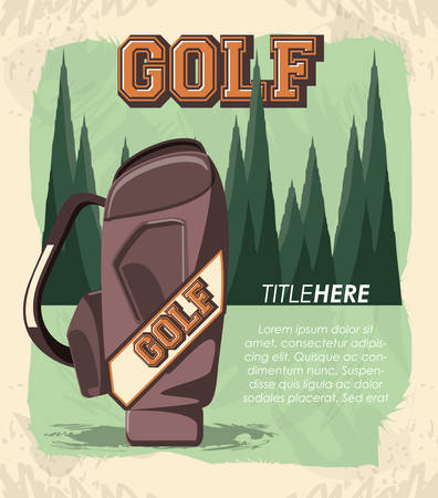 golf club label with caddy bag vector illustration design