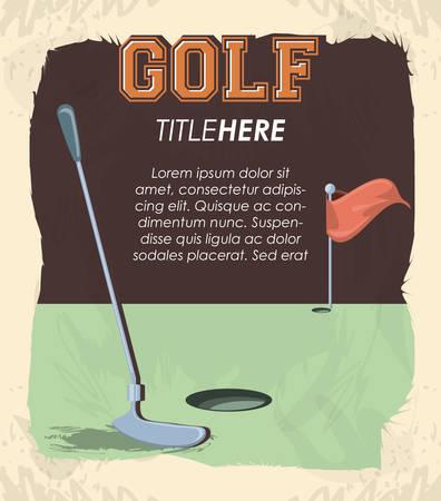 golf club label with stick vector illustration design Illusztráció