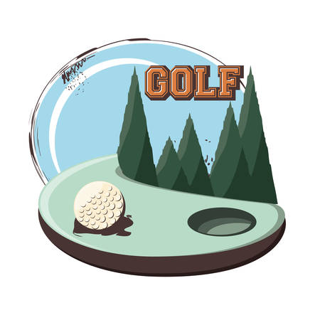 golf club label with ball vector illustration design Illusztráció