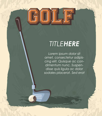 golf club label with stick vector illustration design Illusztráció