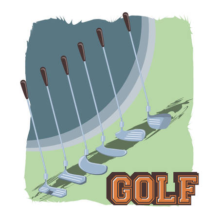 golf club label with set sticks vector illustration design