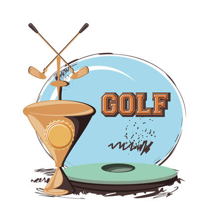 golf club label with trophy cup vector illustration design