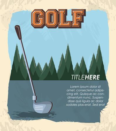 golf club label with stick vector illustration design Ilustração