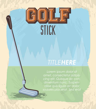 golf club label with stick vector illustration design