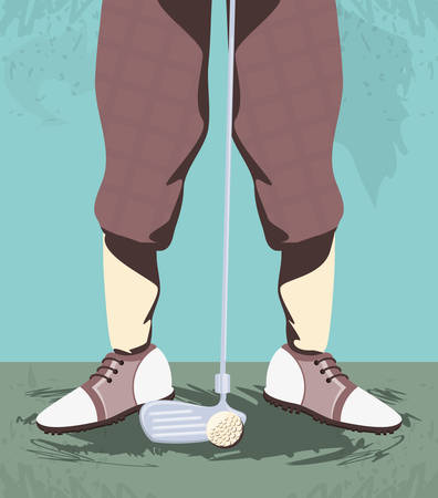 golfer feet on golf course vector illustration design