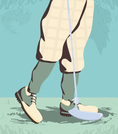 golfer feet on golf course vector illustration design