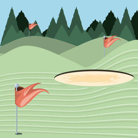 golf curse with sand trap vector illustration design
