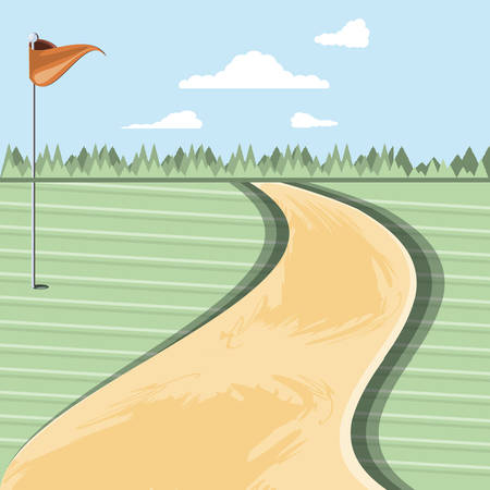 golf curse with way scene vector illustration design