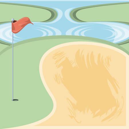 golf curse with sand trap vector illustration design