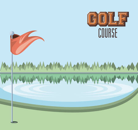 golf curse with lake scene vector illustration design