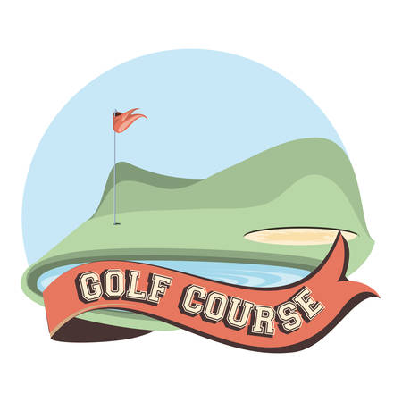 golf curse with sand trap and lake vector illustration design