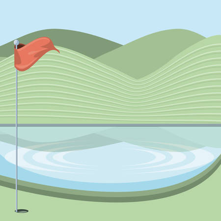 golf curse with lake scene vector illustration design