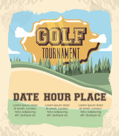 golf club label with course vector illustration design