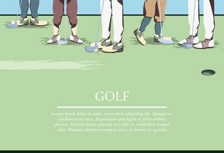 golfer feets on golf course vector illustration design