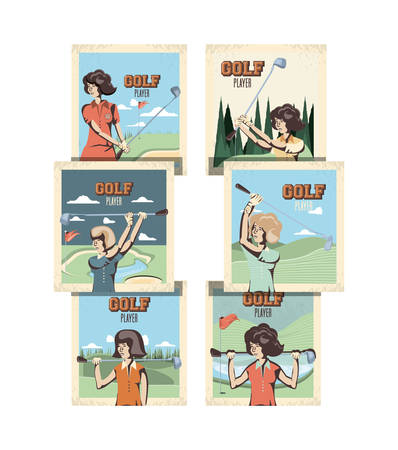 golf sport set pictures icons vector illustration design