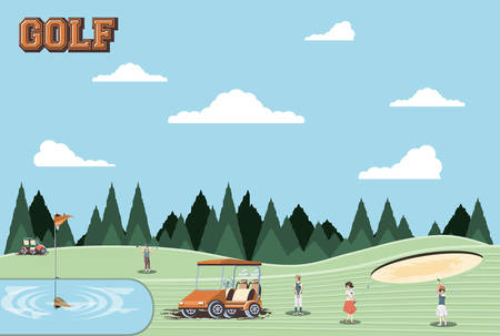 golf players people in the course vector illustration design