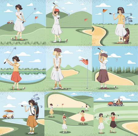 golf player women in the course vector illustration design  イラスト・ベクター素材