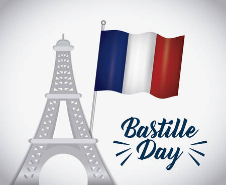 Bastille day design with eiffel tower icon  over colorful background, vector illustration