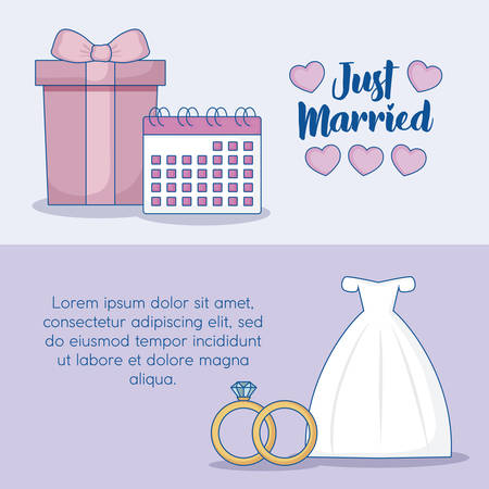 Just married infographic with gift box and wedding dress icon over colorful background. vector illustration Illustration