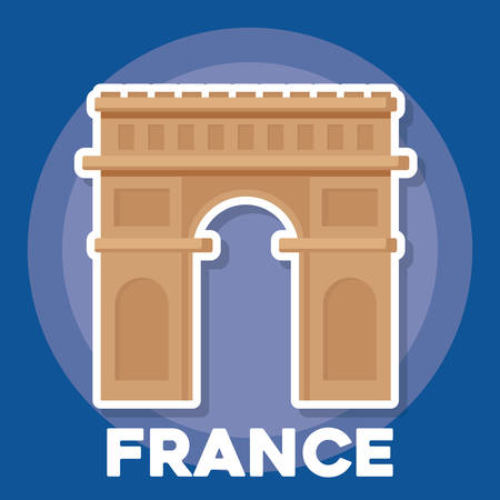 france culture design with arc of triomphe icon over blue background, colorful design. vector illustration