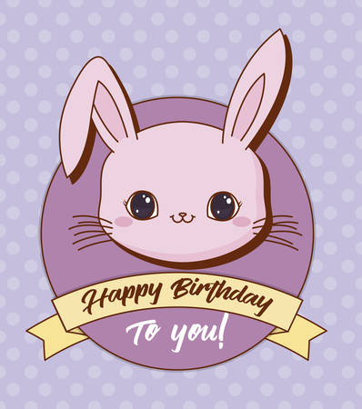 Happy birthday design with cute rabbit icon and decorative ribbon over purple background, colorful design. vector illustration 일러스트