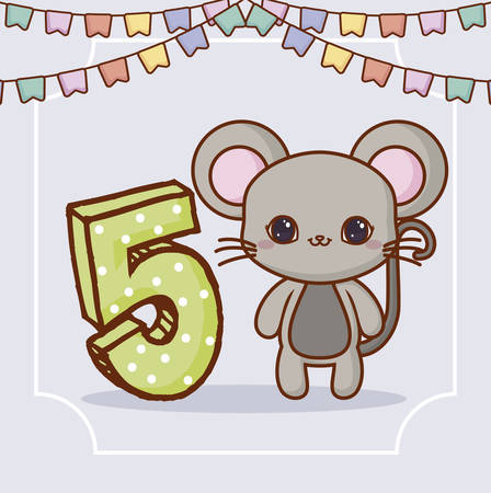 Happy birthday design with cute monkey and number five over gray background, colorful design. vector illustration