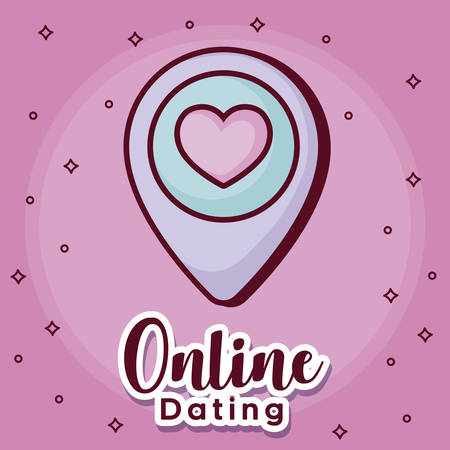 online dating design with location pin icon over pink background, colorful design. vector illustration