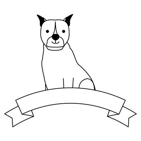 cute boxer dog and decorative ribbon over white background, vector illustration