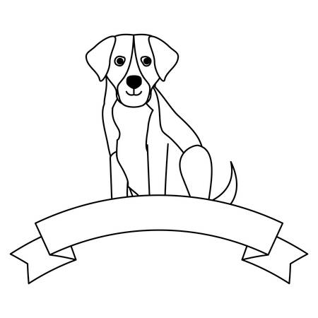 decorative ribbon with cute st bernard dog icon over white background, vector illustration