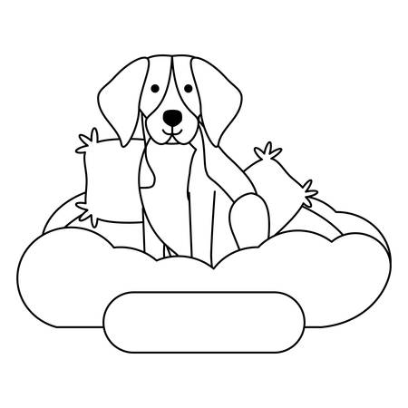 cute beagle dog in bed over white background, vector illustration Illustration