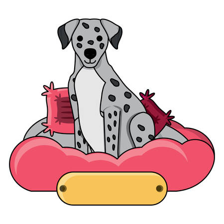 cute dalmatian dog in bed over white background, vector illustration