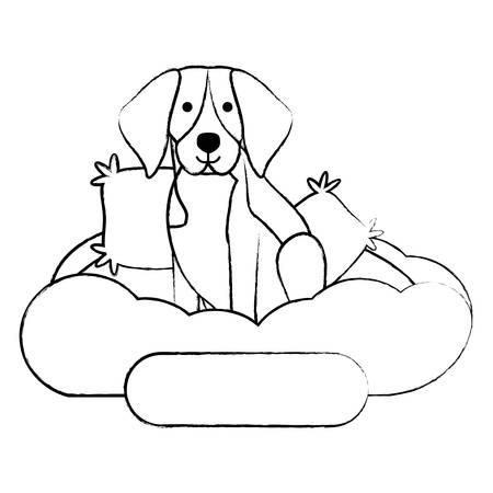 cute beagle dog in bed over white background, vector illustration Ilustração