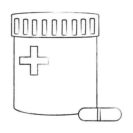 pills bottle icon over white background, vector illustration