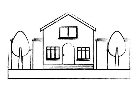 modern house and trees over city landscape and white background, vector illustration
