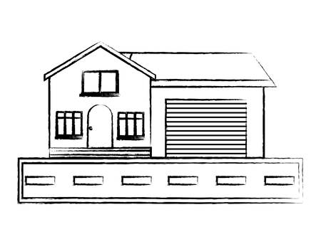 modern house and road over white background, vector illustration