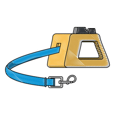 Retractable Tape Dog Leash over white background, vector illustration