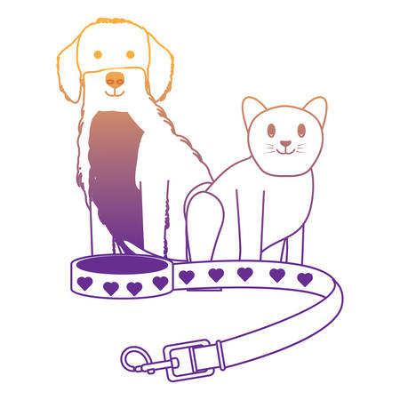 pet collar with cute dog and cat over white background, vector illustration 向量圖像