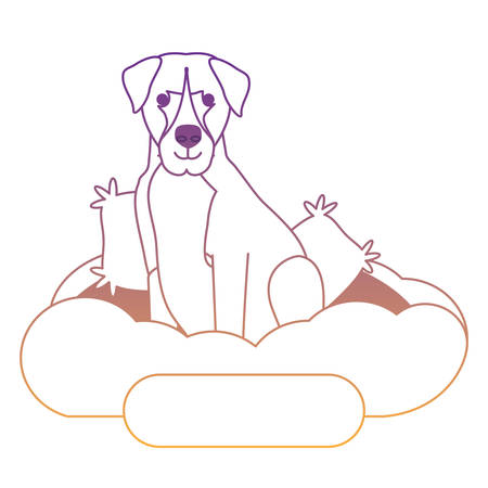 cute boxer dog in bed over white background, vector illustration