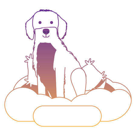 cute golden retriever dog in bed over white background, vector illustration