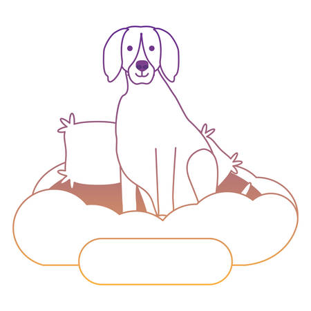 cute weimaraner dog in bed over white background, vector illustration