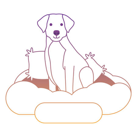 cute labrador dog in bed over white background, vector illustration